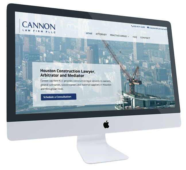 Cannon Law Firm's website on Apple iMac screen.
