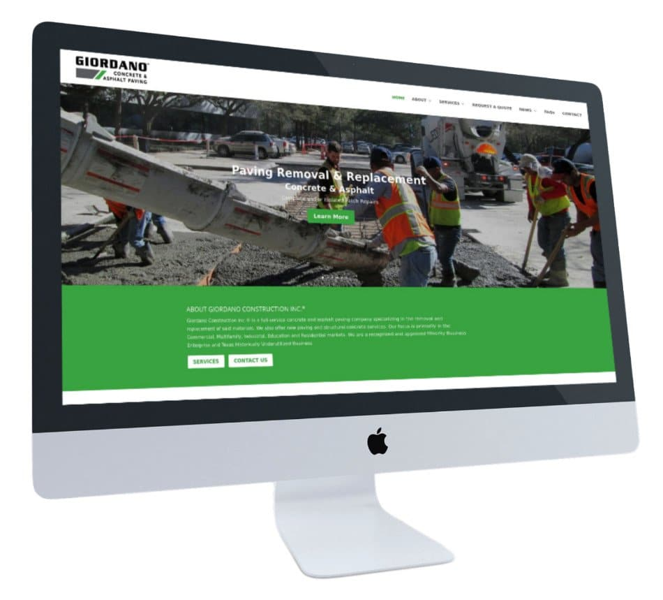 Giordano Concrete & Asphalt Paving's website on Apple iMac's screen.