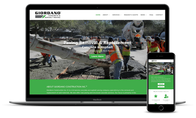 Giordano Concrete & Asphalt Paving's website on latop and phone screens.