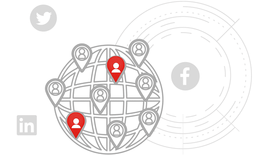 World with grid, icons of people's locations, and social media icons in background.